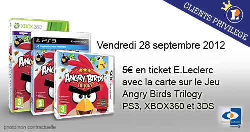 5 euros en ticket e leclerc sur le jeu angry birds trilogy offres privil ges publicit s et. Black Bedroom Furniture Sets. Home Design Ideas