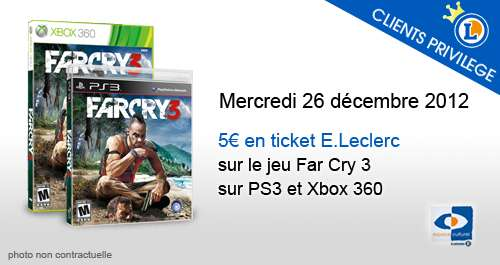 5 euros en ticket e leclerc sur le jeu far cry 3 offres privil ges publicit s et offres e. Black Bedroom Furniture Sets. Home Design Ideas
