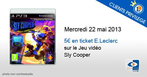 5 euros en ticket e leclerc sur le jeu sly cooper offres privil ges publicit s et offres e. Black Bedroom Furniture Sets. Home Design Ideas