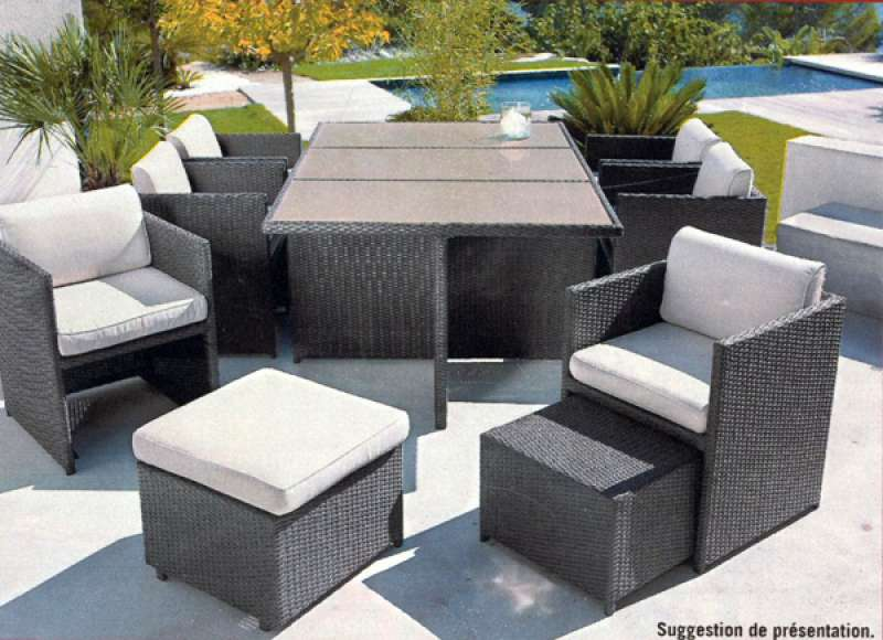 table de jardin aluminium alin a. Black Bedroom Furniture Sets. Home Design Ideas